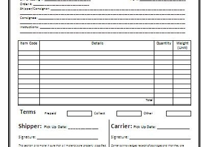 Doc400518 Blank Bill of Lading Form Template Doc9721198 – Straight Bill of Lading Template Free